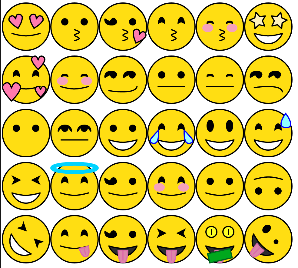 A collection of very happy emojis